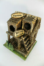 Rustic Log Cabin Birdhouse with Vacancy Sign Welcome To Our Cabin