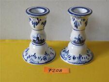 2 x Kerzenständer Leuchter Porzellan Keramik Holland Mühle Windmühle blau weiß
