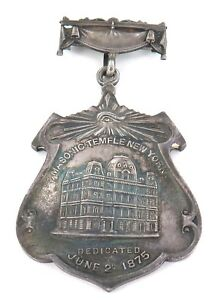 .1875 LARGE ORNATE DOUBLE SIDED NEW YORK MASONIC TEMPLE DEDICATION SILVER MEDAL