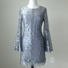 $220 NWT White house black market metallic silver bell sleeve shift lace dress 6