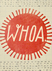 Whoa small blank greetings card & envelope, Birthday, thank you, etc, brand new