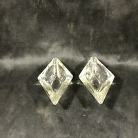 Pair of Clear Glass Diamond Shaped Ashtrays
