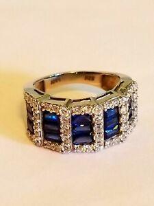 925 Sterling Silver Emerald Cut 4CT SIM Blue Sapphire & CZ Women Band Ring 7