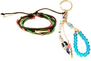 2 Pcs Palestine Map unisex Leather Bracelet Wristband & beaded keychain keyhold