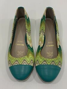 MISSONI Size 38 (7-8) STUNNING Zig Zag BALLET FLATS Shoes Leather *Great Con*