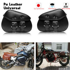 2X Motorcycle Side Saddle bag Two Pouch Leather Side Pouch Saddle Panniers Black
