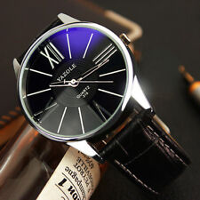 Luxury Fashion Leather Mens Glass Quartz Analog Wristwatch Watches