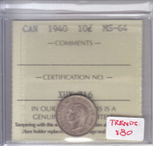 1940 CANADIAN 10 CENT COIN ICCS MS-64