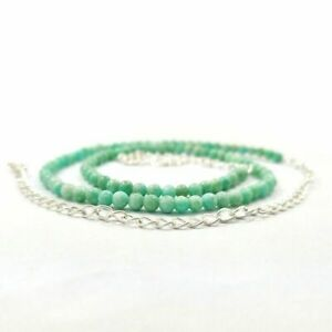 NATURAL GREEN AMAZONITE GEMSTONE 4 MM ROUND BEADS SILVER PLATED NECKLACE JEWELRY
