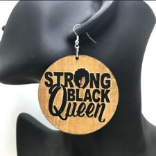 African boho big large earrings ethnic wooden jewelry strong black queen
