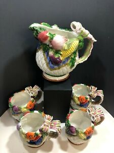 Vintage Fitz & Floyd Vegetable Garden Pitcher and Four (4) Mugs
