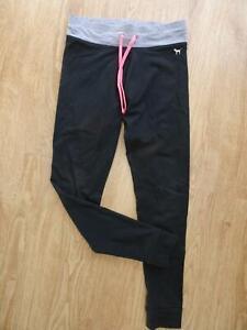PINK VICTORIAS SECRET ladies black leggings SMALL UK 8 - 10 EXCELLENT