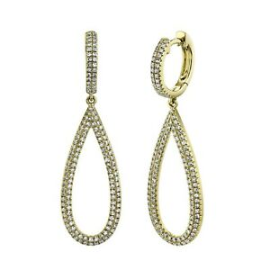 Diamond Teardrop Pear Earrings 14K Yellow Gold Dangle Pave Natural 0.60CT Round