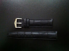 Classic Stainless watch buckle on black leather alligator textured 20mm - MINT