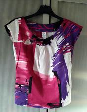Top, tee shirt, Jacqueline Riu graphique rouge rose blanc, violet(T 34/36, xs/s)
