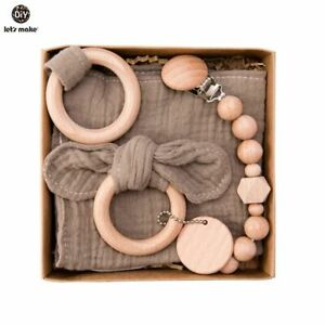 Baby Bath Towel Set Double Sided Cotton Blanket Wooden Rattle Bracelet Toy