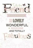 To My Amazing Lovely Friend Fabulous Butterfly & Word Design Happy Birthday Card