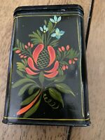 Antique Tin Toleware Cigarette Box Hand Painted Flowers