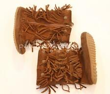 MINNETONKA Brown Suede Leather Triple Fringe Boots Shoes Girls Size 3 9 10 11 Y