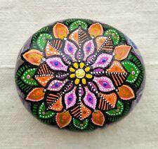 Mandala stone healing handpainted art hippy spiritual gift meditation decoration