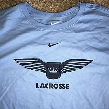 Lg Nike Lacrosse Club Logo Crown Wings T Shirt Baby Blue Graphic Just Do It