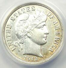 1913 Barber Dime 10C Coin - Certified ANACS AU50 Detail - Rare Date Coin!