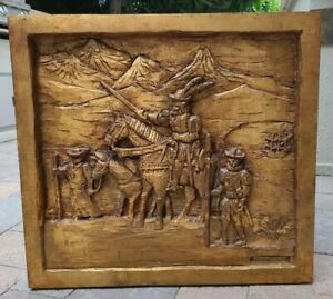 Crusaders The Crusades 3D Wood Carving Baso Relief Wall Panel Large *Signed VTG