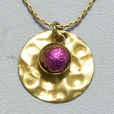"""Pendant with 6mm Glass Stone & Chain Handmade Vintage 14k Gold Filled 18mm 0.7"""""""