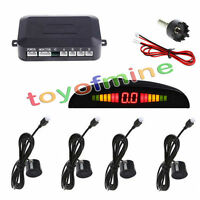 4 Parking Sensors LED Display Car Backup Reverse Radar System Kit 230CM Black