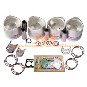 4 Cylinder Piston + Ring + Bearing + Gasket Kit for Kubota Engine V1902 DI