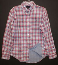 Polo Ralph Lauren Mens Pink Blue Plaid Flannel Lined Button-Up Shirt NWT Size L