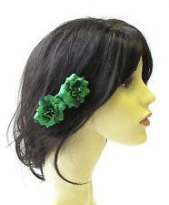 2 x Green Rose Flower Hair Pins Vintage Rockabilly Clip 1950s Bridesmaid 1523
