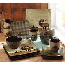 Country Cottage Dinner Set Elk Square Dishes Plates Mugs Glaze Stoneware 16 Pc
