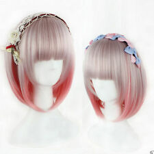 Women's Short Straight Hair Pink Gradient Gray Full Wig Lolita Costume Bob Wigs