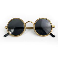 round gold metal sunglasses polarised lens retro Goth Steampunk 1980's 1970's
