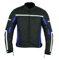 MOTORCYCLE ARMORED BIKERS HIGH PROTECTION WATERPROOF JACKET BLACK/BLUE CJ-9486