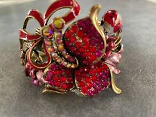 Wild Red Rhinestone & Enamel Flowers & Lady Bug Clamper Bracelet Gold Tone