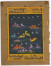 Indian Painting Birds Water Color Hand Painted Miniature Old Paper Painting Boho