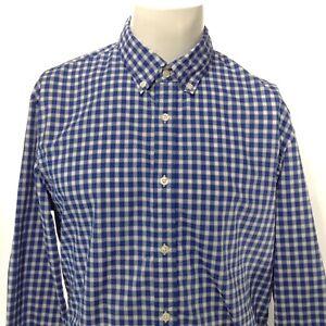 J. PRESS Men's Blue White Checkered Plaid Button Up Dress Shirt Size XL, COTTON