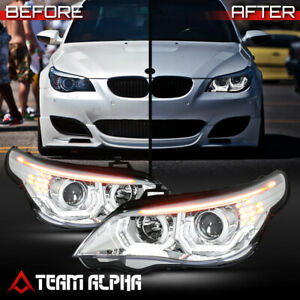Fits 2004-2007 BMW E60 {DUAL 3D HALO/LED SIGNAL} Chrome HID Projector Headlight