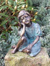 Bronzeskulptur, träumendes Mädchen, Dekoration für Heim und Garten