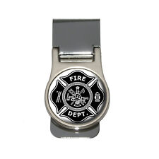 Firefighter Firemen Maltese Cross - Black Money Clip
