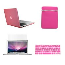 "4 in1 Rubberized PINK Case for Macbook PRO 15""+Key Cover+LCD Screen+Sleeve Bag"