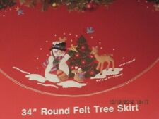 "Bucilla 32522 Snowman Christmas Felt 34"" Round Tree Skirt To Stitch Felt Fabric"