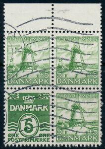 Denmark Scott 223d/AFA 236, 5ø green Dybbøl Mill, F-VF Commercially Used BLOCK