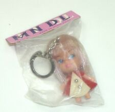 Mini Doll keychain, kiddle clone, 1960s Hong Kong NOS Red dress