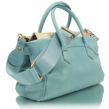 Liebeskind Berlin Georgia Foil Leather Bag Satchel Light Blue/ Metallic Gold