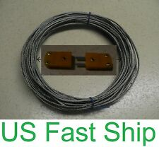 15m 50' Type K Thermocouple Wire Extension & Flat Pin Male Female connectors