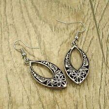 Retro Tibet Silver Tone Earrings Flower Leaf Dangle Women Charms Fashion Jewelry
