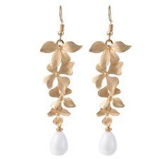 Beautiful Long Orchid Flower Pearl Drop Earring Women Girls Fashion Jewelry